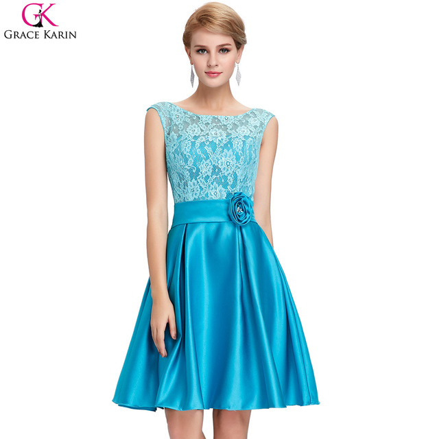 Grace Karin Mother Of The Bride Dresses Blue Sleeveless Satin Lace ...
