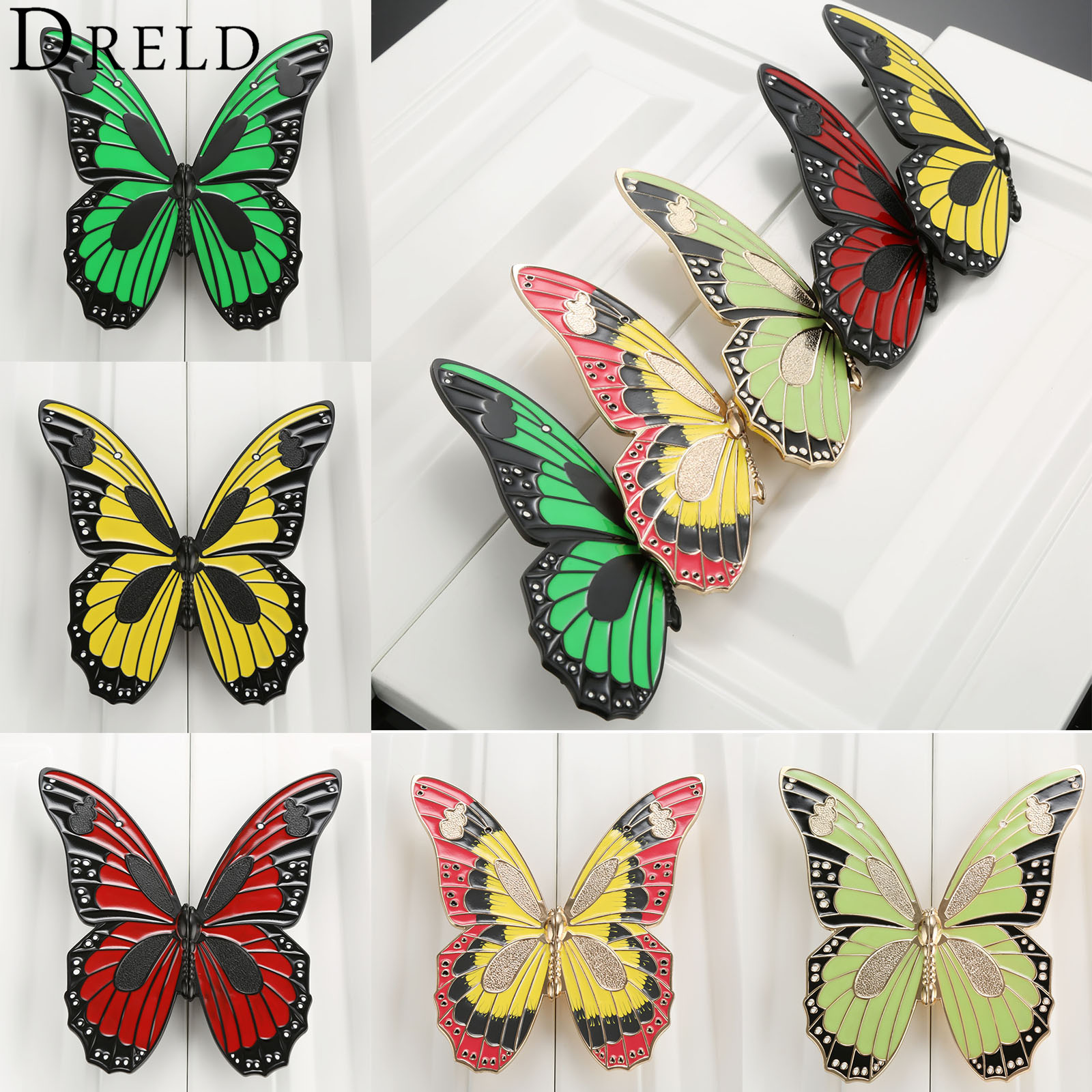 DRELD 1Pc Butterfly Furniture Handles Cabinet Knobs and Handles Zinc Alloy Door Knob Cupboard Dresser Drawer Kitchen Pull Handle 1pc furniture handles wardrobe door pull drawer handle kitchen cupboard handle cabinet knobs and handles decorative dolphin knob