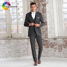 Formal Business Grey Wedding Suits for Men Best Blazers Jacket Slim Fit Groom Tuxedos Man with Pants 3 Pieces Ternos