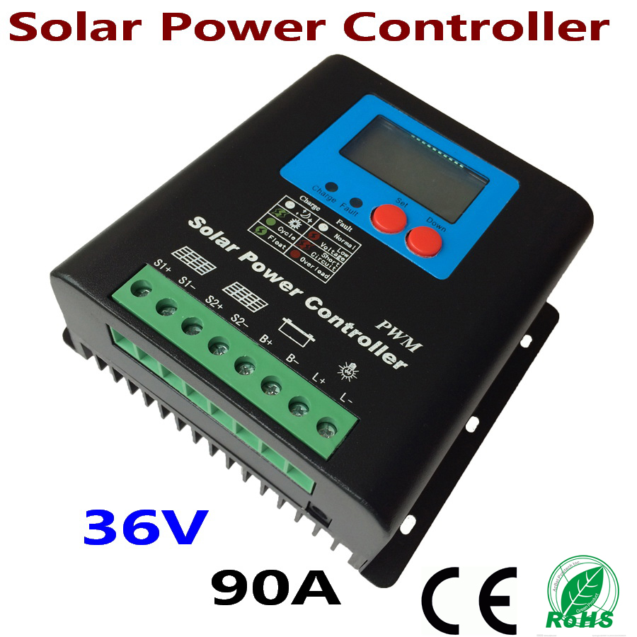 90A 36V Solar Controller 36V panel Battery Charge Controller Solar Home system indoor use LCD 90 Amps Solar Charge Controller