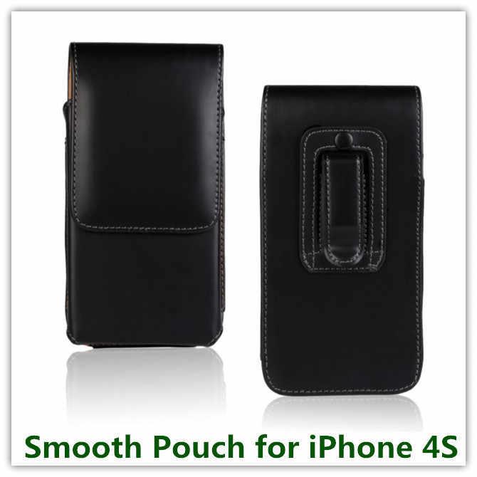 1 قطعة أزياء أسود اللون العمودي حزام كليب الرجل نمط بو الجلود الحقيبة ل فون 4 4S أعمال الهاتف أكياس الشحن