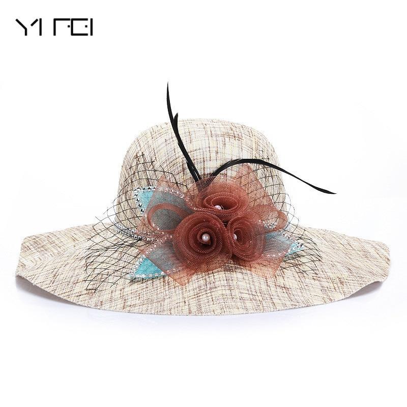 YIFEI fashion Sweet Flax Flax grenadine flower Wall Sticks Beach Cap Foldable Vacation ladies hats 2018 sun hats for women