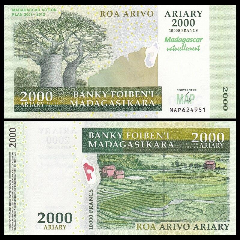 Madagascar 2000 Ariary, 2007, P-93, Commemorative, UNC, Original, Gift, Africa