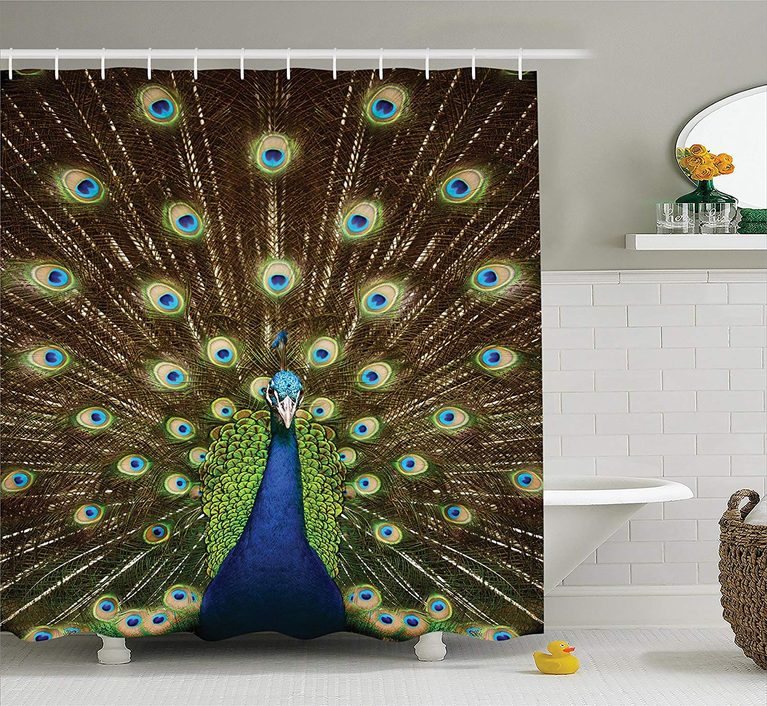 Us 18 51 40 Off Peacock Shower Curtain Decor Portrait Of Peacock With Feathers Out Vibrant Colors Birds Summertime Garden Fabric Bathroom In Shower