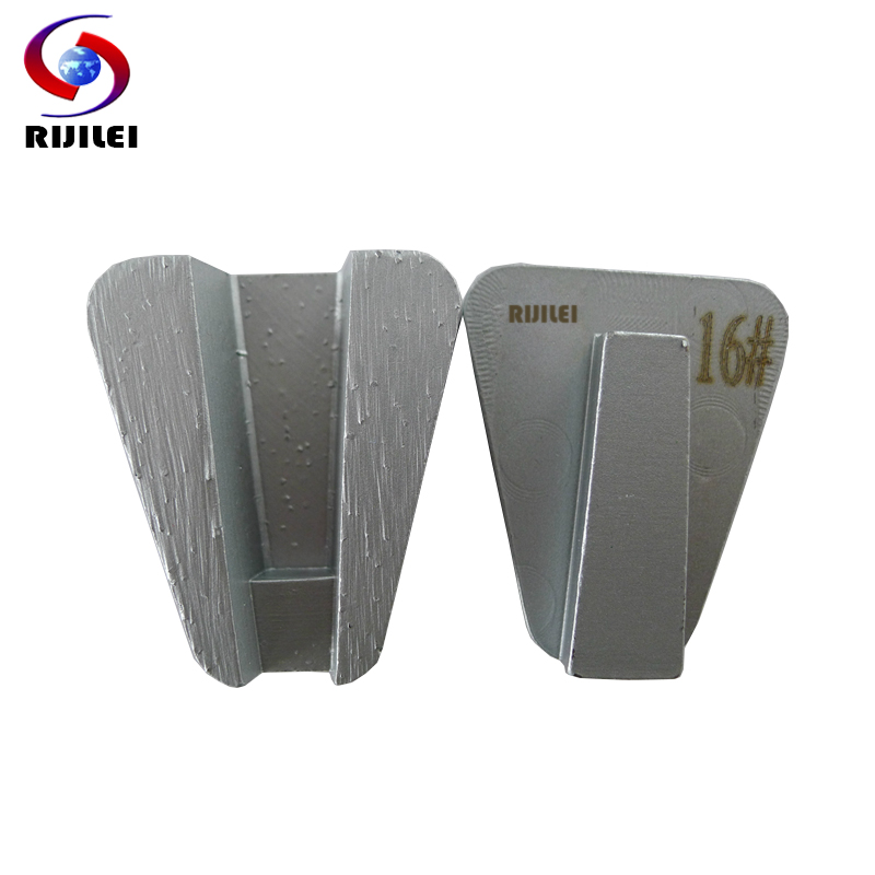 RIJILEI 12PCS Trapezoid Shape Metal Bond Grinding Disk Redi Lock Diamond Grinding Block For Concrete Floor Polishing Pad L60B