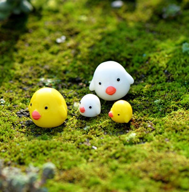 10x Miniature Resin Yellow Ducks Dollhouse Craft Fairy Garden Bonsai Decor  I
