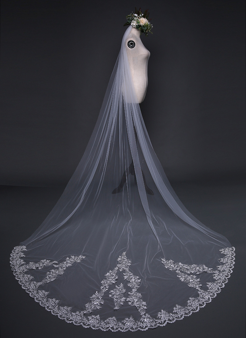 3 M Long Cathedral Bridal Wedding Veil B Sparkly Sequin Appliques Edge Accessories Velos De Novia Veu Noiva Longo: Sparkly Accessories For Wedding Dress At Websimilar.org