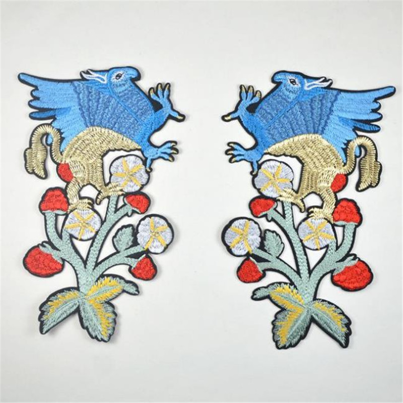 T shirt women Embroidery patch 195mm punk bird flower patches for clothing deal with it Stickers 3D t shirt mens Christmas