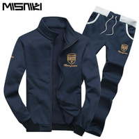 2015 New Fashion Spring Autumn Casual Slim Mens Tracksuit Set Solid Sport Suit Men Plus Size