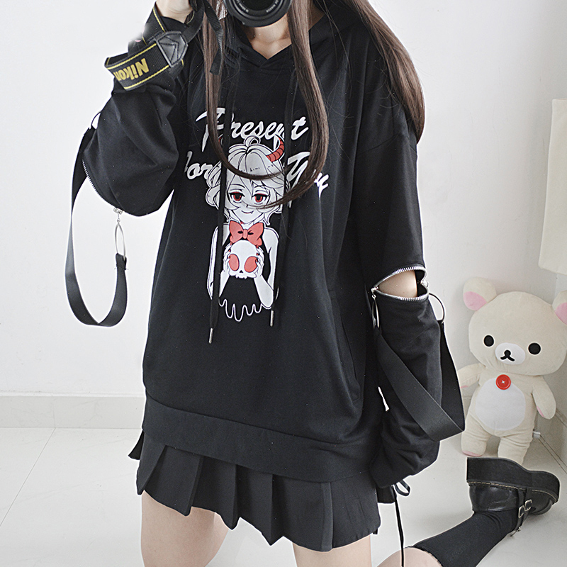 Japan Style Zipper Sleeve Coat Black Pullover Top Devil s Gift Theme Women s Autumn Long