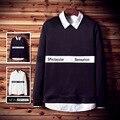 2016 de los hombres de base sólida Europa estilo de la calle Carta simple Impreso Tendencia la Camiseta de manga larga tocando fondo suéter ropa masculina