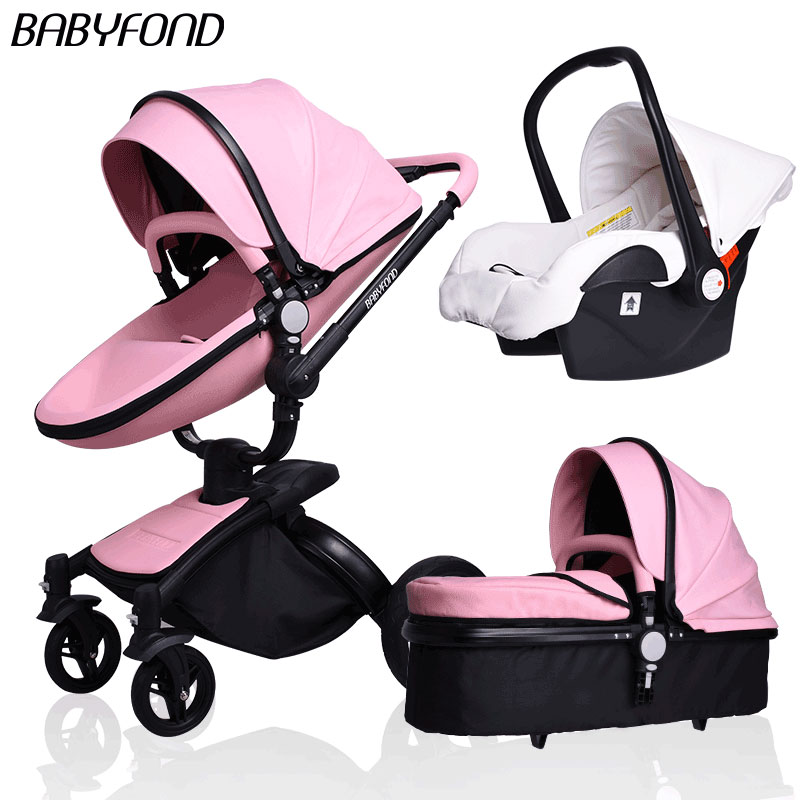 aiqi прогулочная коляска - 3 in 1  Brand European Luxury PU Leather Baby Stroller High View Prams Folding Car Poussette Buggy Stroller with Sleeping Bags