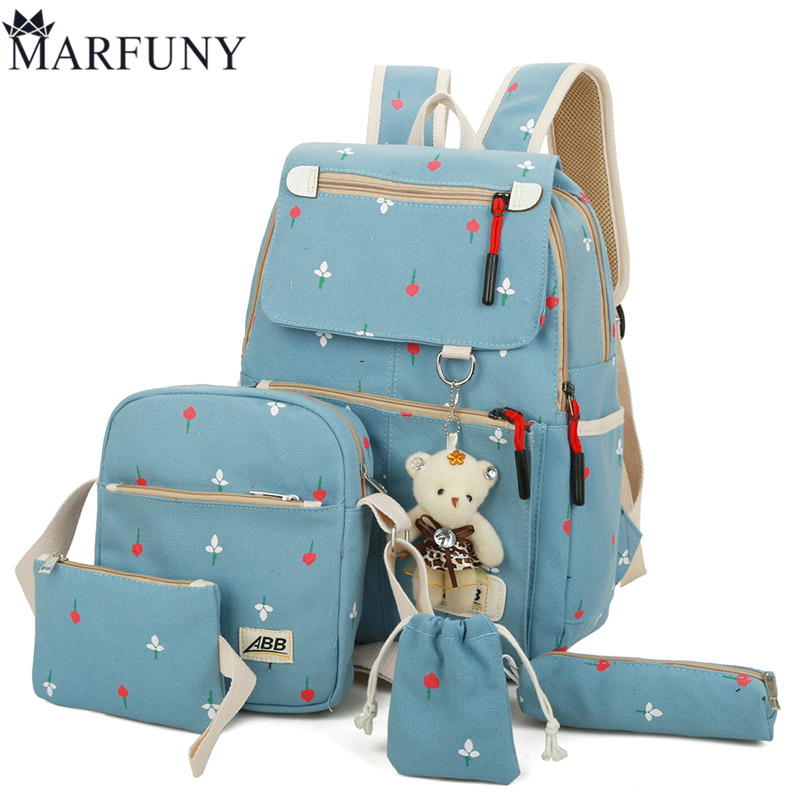 Fashion Canvas 5 Sets Backpack Composite Bag Preppy Style School Bags Female Backpacks For Teenage Girls Backpack Cute Bear Bag canvas backpack women dot school bag for teenagers girls preppy style composite bags set travel high quality female backpacks
