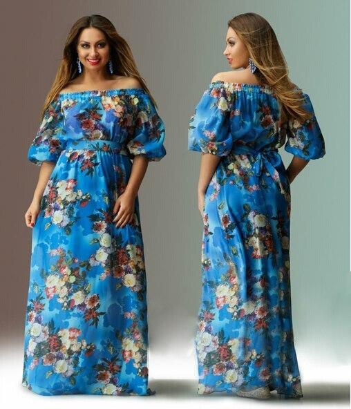 36919c6701 woman floral plus size dresses off shoulder half sleeve maxi long dresses  for summer casual plus