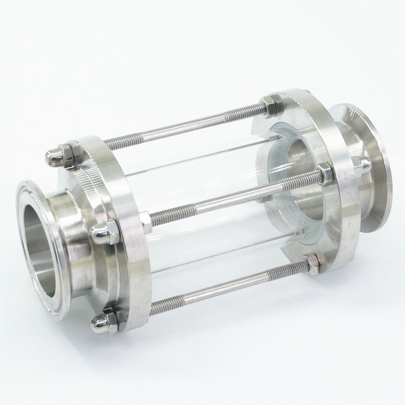 Fit 1-3/4 45mm Pipe OD x 2 Tri Clamp Flow Sight Glass Diopter Tower SUS 304 Stainless Steel Sanitary Home Brew Wine Beer