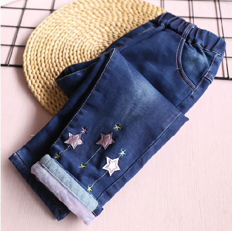цены на Y Winter Baby Girl Jeans Fleece Worm Appliques Stars Fashion Girl Pants Denim Girls Clothes Kids trousers children clothes  в интернет-магазинах