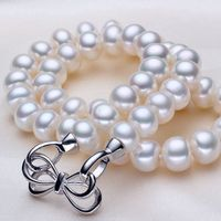 ASHIQI 10 11mm Big white Natural Freshwater Pearl Necklace For Women Pearls jewelry gifts