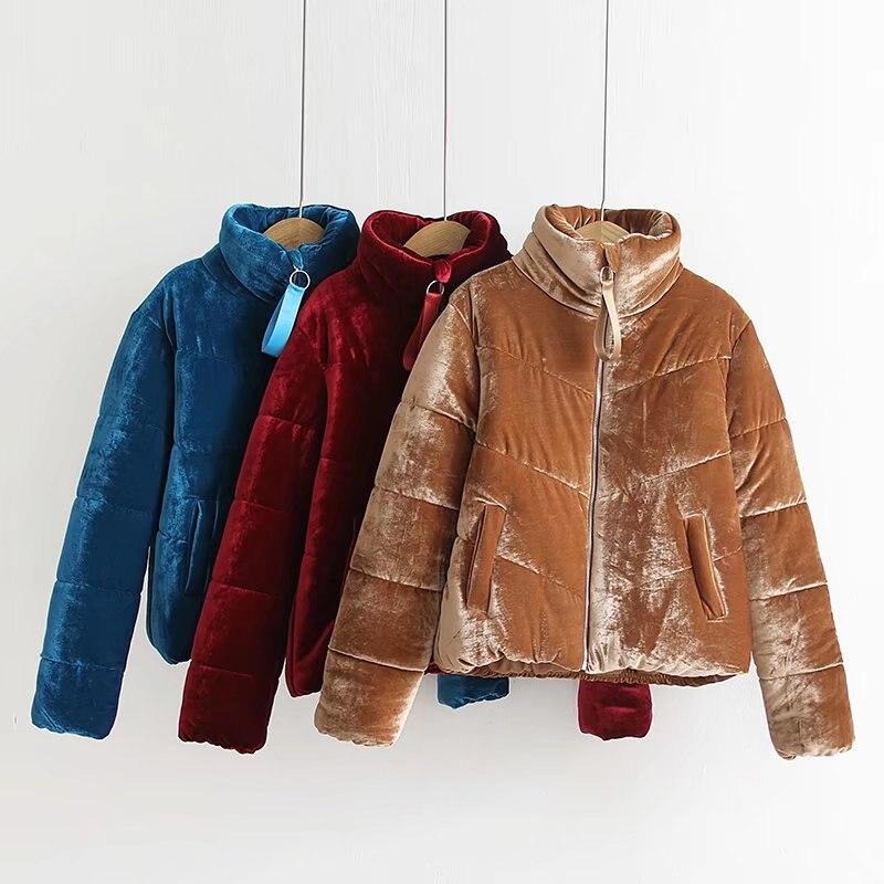 2019 New Fashion Velvet Cotton Padded   Basic     Jacket   Coat Warm Blue Parkas   Jackets   Female Autumn Winter   Jacket   Women Outerwear