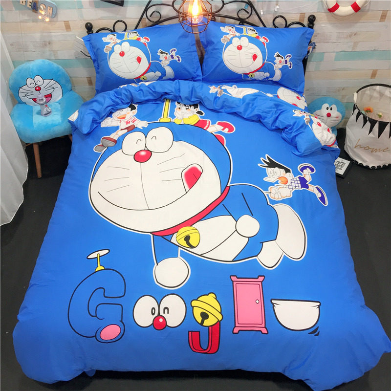 Fashion cute blue Doraemon Cartoon bedding set 4pcs soft Pillowcase bedclothes bed Children Kid Duvet Cover Twin Full Queen Size