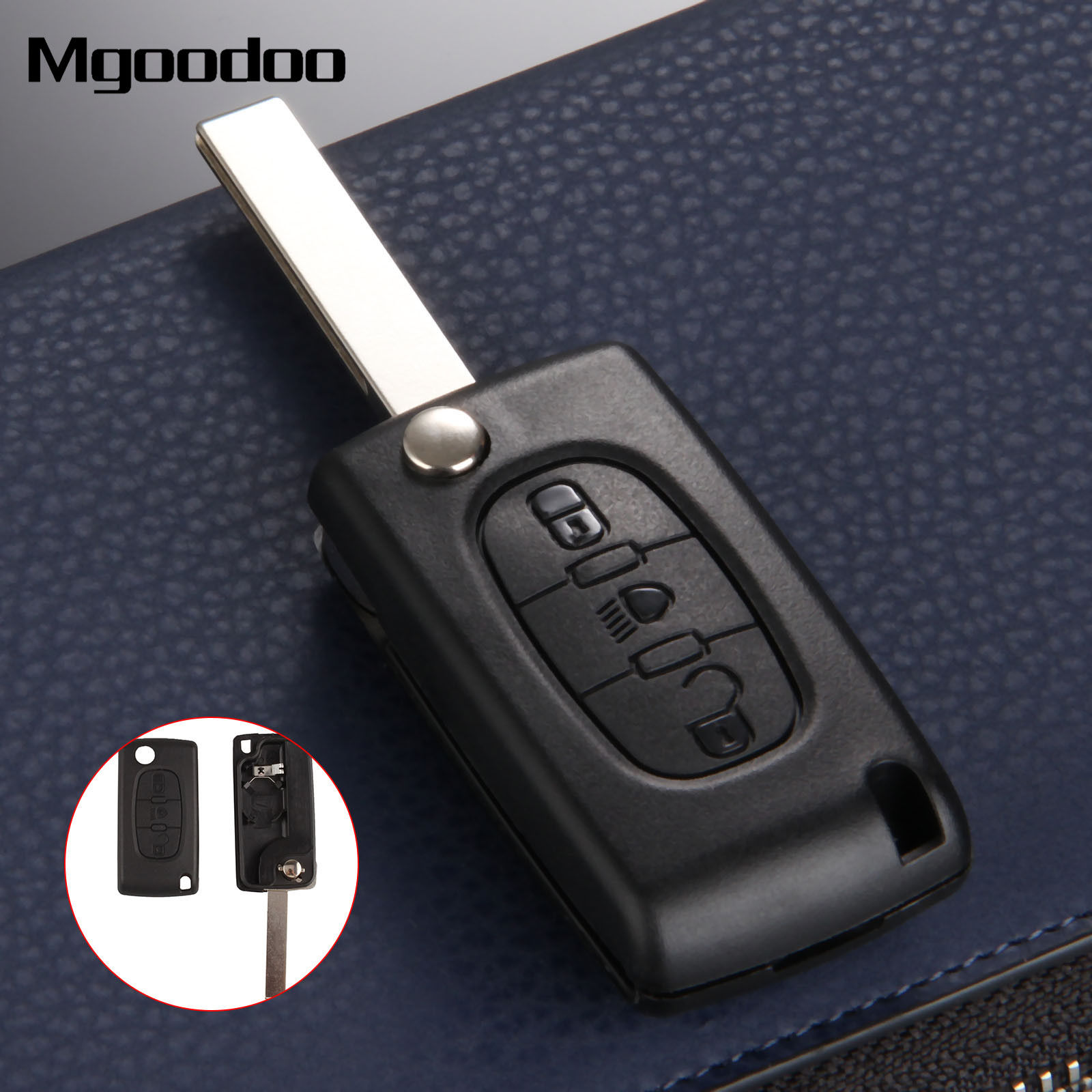 Chequers Motorstore Peugeot 4 Button 1007 Citroen C8 Remote Key Fob VA2 Smooth NON Groove Blade repair