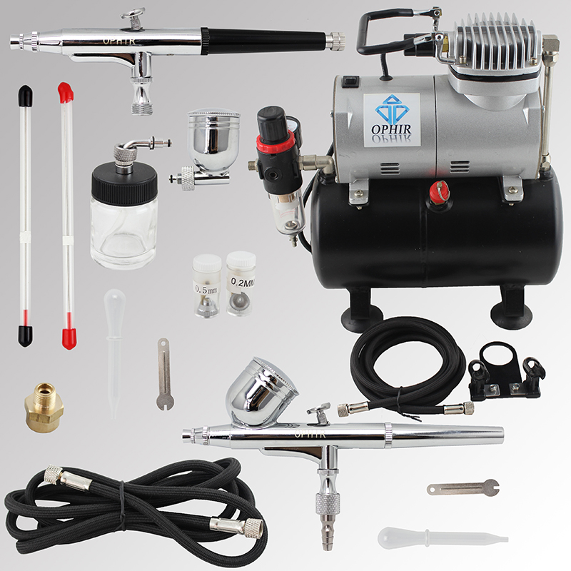 OPHIR Pro 2x Dual Action Airbrush Gun with Air Tank Compressor for Temporary Tattoo Model Air Brush Spray Gun _AC090+004A+074 ophir 2x dual action airbrush kit with pro tank air compressor for nail art makeup tanning temporary tattoo model ac053 004 073