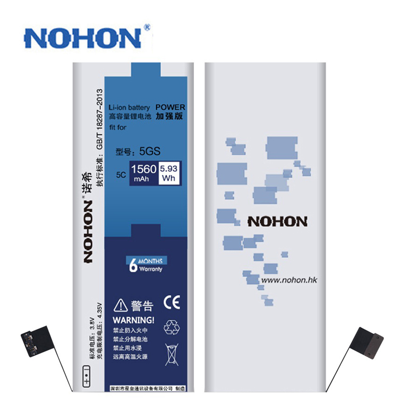 Original NOHON 1560mAh New Battery For iPhone 5S 5C High Capacity With Replacement Tools For apple iPhone 5S Phone batteries