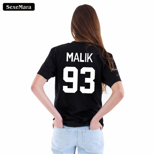 b3c3930dd9e Summer New Fashion MALIK 93 Letter Print T-shirts Short Sleeve Comfortable  Black Top Women Harajuku Cool T shirt Couple Tee H838