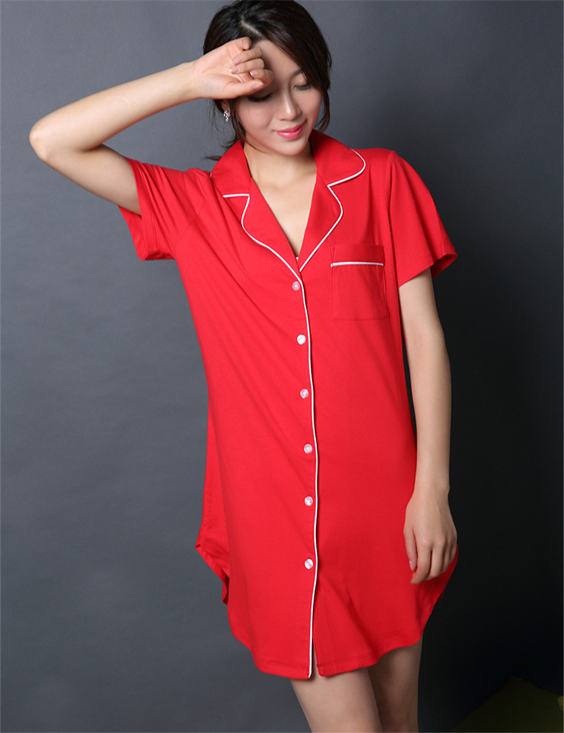 Button sleep shirt women sleepshirts cotton knit sleepwear for Sleep shirt short sleeve