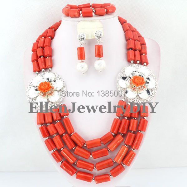 Nigerian Wedding Coral Beads Jewelry Red Coral Jewelry Set Necklace Bracelet Earrings African Beads Jewelry Sets   W7388Nigerian Wedding Coral Beads Jewelry Red Coral Jewelry Set Necklace Bracelet Earrings African Beads Jewelry Sets   W7388