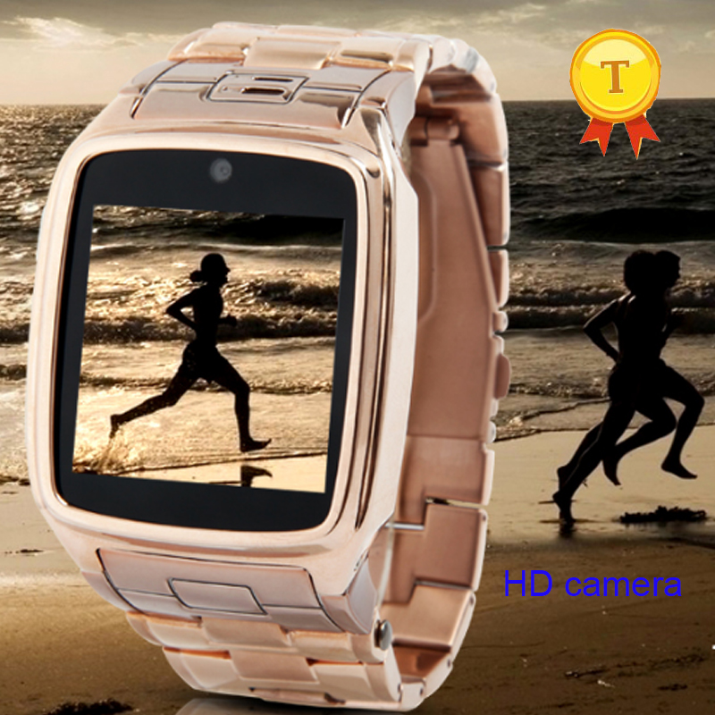 fashion metal design stainessless steel case band business style bluetooth smart watch support sim card tf