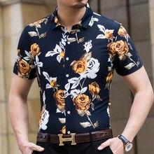 78ba02a4d5e78e2 2019 Мужская гавайская рубашка с коротким рукавом мужские рубашки Slim Fit  Camisa Masculina Летние Гавайские повседневные