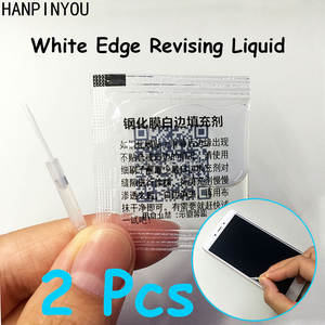2 Bags/Lot Tempered Glass White Edge/Side Revising Liquid with Brush White Border