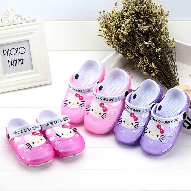 aead42cf5 2019 Summer Baby Girl Sandals Shoes Children Hello Kitty Shoes Toddler Girls  Sandals Kids Slides Slippers Sandals EU 24 35 Soft-in Sandals from Mother  ...