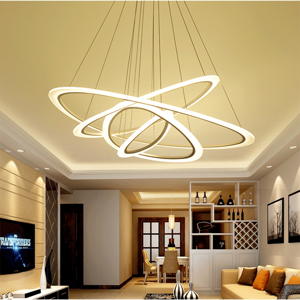 Modern 220v Lamp pendant lights for living room dining room 4/3/2/1 Circle Rings acrylic LED Lighting ceiling Lamp fixtures a1 master bedroom living room lamp crystal pendant lights dining room lamp european style dual use fashion pendant lamps