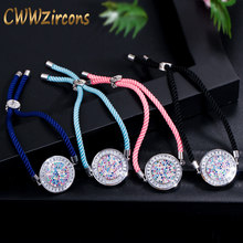 CWWZircons Adjustable Beautiful Multicolored Cubic Zirconia Stones Round Charm Handmade Ladies Rope Chain Bracelets CB041(China)