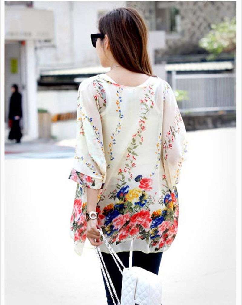 843d787d Beautiful flower print women sheer shirts plus size summer blusas 2016  vogue design girls blusas fashion chiffon blouses-in Blouses & Shirts from  Women's ...