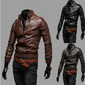 2015 New Autumn Winter Shoulder Strap Pocket Rib Sleeve Water Wash Men's Fashion Casual PU Leather Motorcycle Leather Jacket