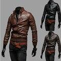 2015 nueva otoño invierno bolsillo de la correa manga costilla lavado con agua ocasional de hombre PU cuero de la motocicleta chaqueta de cuero