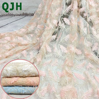 QJH 1Yard 91*130cm White Pink Blue African Lace Fabric Feather Pattern Embroidered French Organza Lace Fabric Diy Cloth