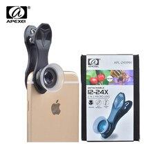 APEXEL 10 unids/lote teléfono de la lente 2 en 1 12X Macro + 24X Kit de lente de cámara Super Macro para iPhone Samsung Xiaomi Smartphones rojos APL 24XM