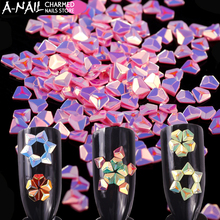 12 Colors/set  Unicorn AB Color Nail Sequins Chameleon Diamond Iridescent Flakies3D Nail Art Decoration Manicure Tips