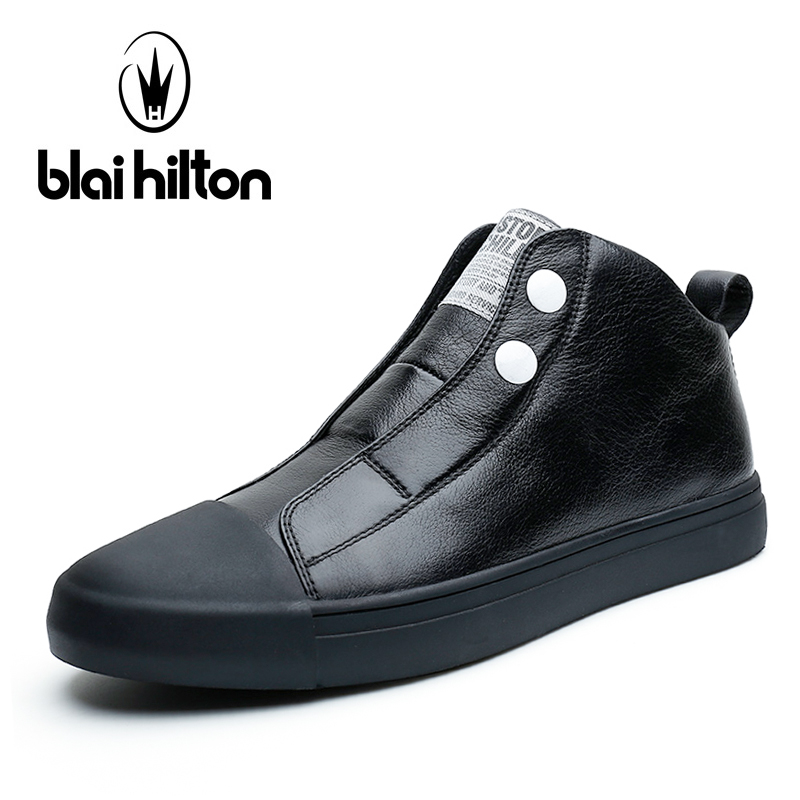 Blai Hilton Brand 2017 Genuine Leather Slip On High Top men casual shoes Luxury Male Footwear Fashion Designer Mens Casual Shoes grimentin fashion 2016 high top braid men casual shoes genuine leather designer luxury brand men shoe flats for leisure business