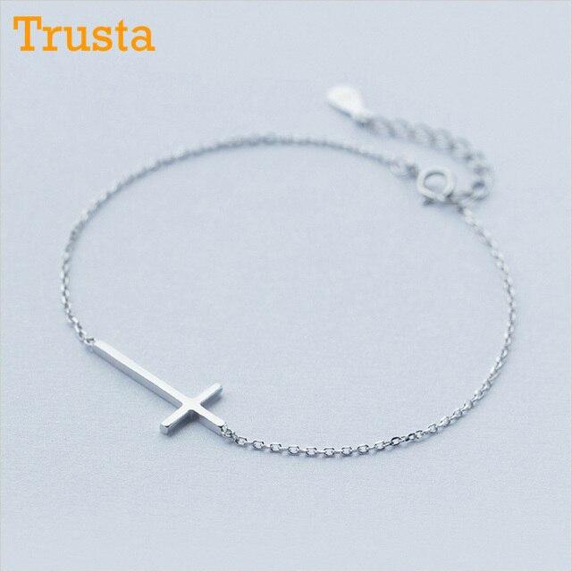 42de411093 Trusta 100% 925 Sterling Silver Fashion Women's Jewelry Wire Drawing Cross  Bracelet 16cm For Gift Girls Lady Drop Shipping DS190
