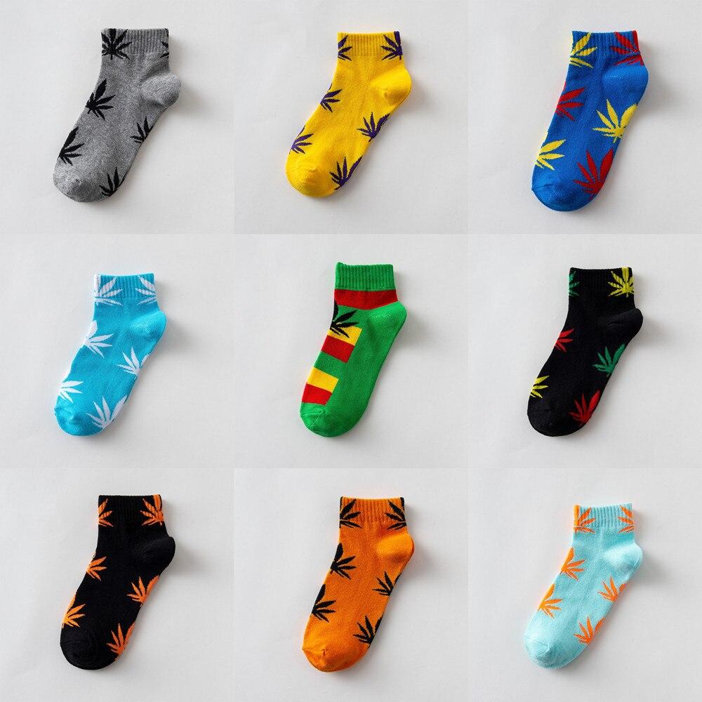 1 Pairs Unisex Hemp Maple Leaf Ankle Socks Women Men Cotton Casual Female Harajuku Funny Socks One Size Street Trend Skateboard in Socks from Underwear Sleepwears