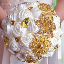 AYiCuthia Gorgeous Gold Brooches Wedding Bouquet Silk Roses Bridal Rhinestones Colorful Bride s with pearl S16