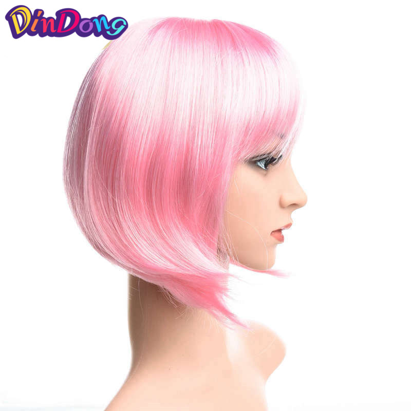 Dindong Synthetic <font><b>Short</b></font> Straight Blue <font><b>Pink</b></font> Bob <font><b>Wigs</b></font> Flat Bangs Heat Resistant Fiber Cosplay Party <font><b>Wig</b></font> Halloween Hair image