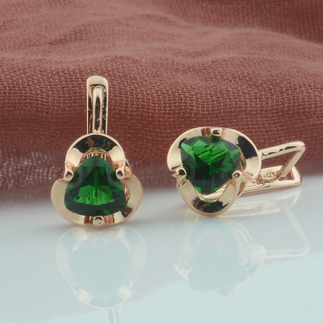 3 styl kobiety zielony kamień kwiaty kwadratowe kolczyki w kształcie 585 różowe kolczyki wiszące w kolorze złota