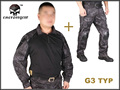 Men Military Airsoft  BDU Combat Uniform  EMERSON Tactical Gen3 Shirt & Pants Knee Pads Typhon EM8586 EM7036