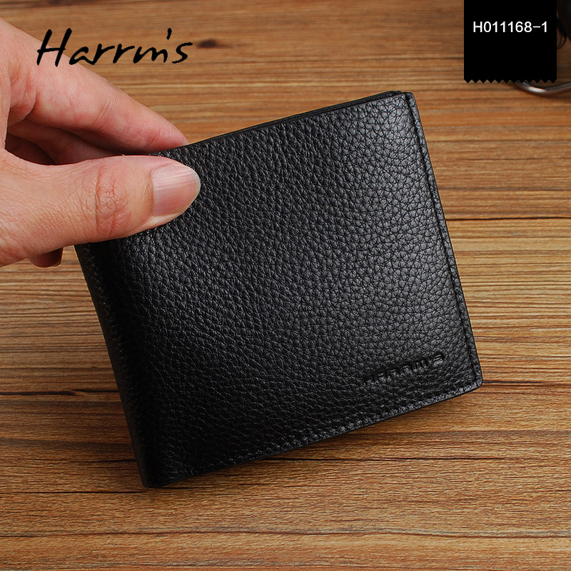 Harrms brand Wallet Purses Men's Wallets Carteira black color first layer genuine leather Famous Brand Male Men Wallets цена