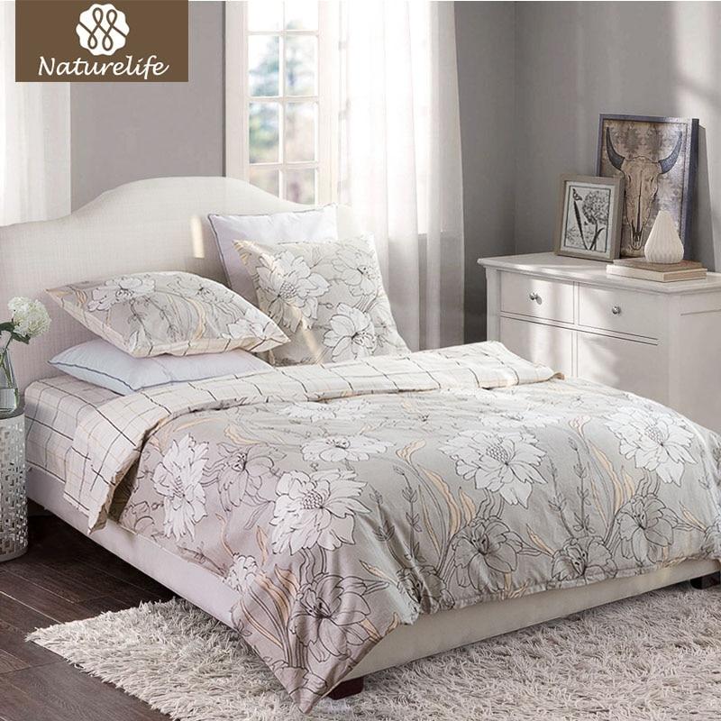 Naturelife cotton bedding set 4pcs queen size flowers - Dimensioni letto queen size ...